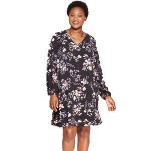 Ava & Viv Size 4X Black Floral Print Shift Dress
